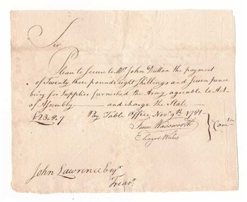 1782 Note for Purchase of Continental Army Supplies