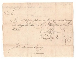1780 Pay Table Office Note to Abigail Johnson