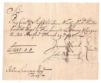 1780 Pay Table Note signed by James Church & John Chenward