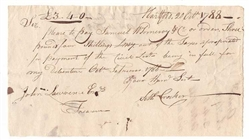 1788 Pay Table Note signed by Seth Crocker