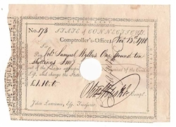 1788 Pay Table Note Issued to Samuel Wyllys Signed by Oliver Wolcott Jr.
