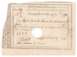 1790 Note Signed by Peter Colt and Ralph Pomeroy