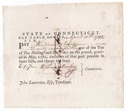 1782 Pay Table Note Signed by Fenn Wadsworth and William Moseley