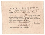 1782 Pay Table Note Signed by Fenn Wadsworth, William Moseley, Hezekiah Rogers