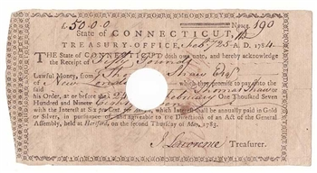 1784 Connecticut Treasury Note Receipt signed by John Lawrence