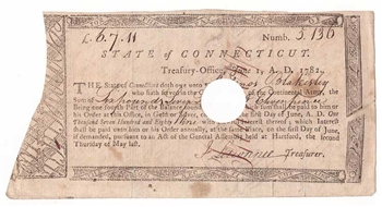 1782 Treasury Notes for Continental Army Service Signed by John Lawrence
