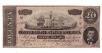 1864 Confederate Statues of America $20 Dollar Bill