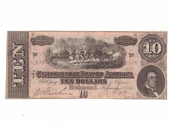 1864 Confederate Statues of America $10 Dollar Note