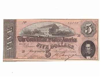 1864 Confederate Statues of America $5 Dollar Note