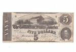 1863 Confederate Statues of America $5 Dollar Note
