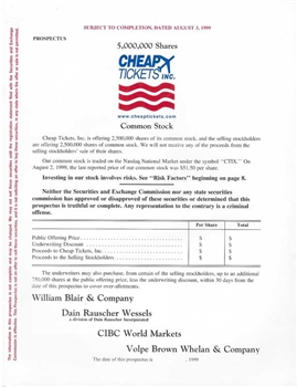 Cheap Tickets Inc. IPO Prospectus - 1999
