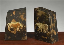 Solid Marble Bull and Bear Bookends