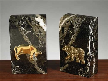 Stock Market Bull and Bear Bookends - Black Marble