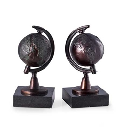 Revolving Globe Bookends with Bronzed Finish on Black Marble