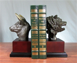 Stock Market Bronzed Bull and Bear Bookends on Wood