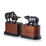 Wall Street Bronzed Brass on Burlwood Bull and Bear Bookends