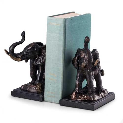 Bronzed Brass Elephant Bookends on Marble