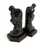 Thinker Bookends with Bronzed Finish on Wood Base