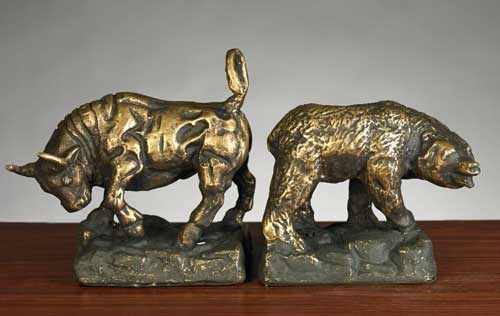 Genial Stock Market Bronzed Metal Bookends