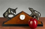 Stock Market Bull and Bear Clock, Brass
