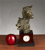 Stock Market Bull and Bear Clock, Bronzed Metal