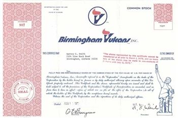 Birmingham Vulcan, Inc. Stock Certificate - Football Team