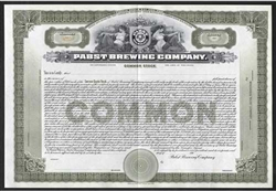 Pabst Brewing Company Stock Certificate - 1910s