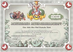 Achterbahn Aktiengesellschaft German Comic Strip Stock Certificate