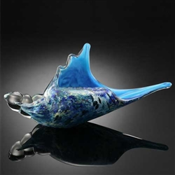 Art Glass Blue Murex Shell