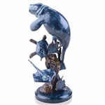 Manatee and Friends Statue - Brass on Solid Marble Base