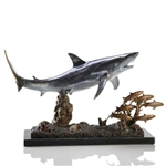 Shark with Prey Statue - Brass on Solid Marble Base