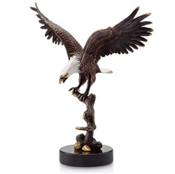 Bald Eagle on Branch Sculpture - Brass on Marble