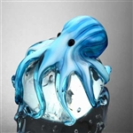Art Glass Blue Octopus Paperweight