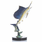 Blue Water Sailfish Statue - Brass on Solid Marble Base