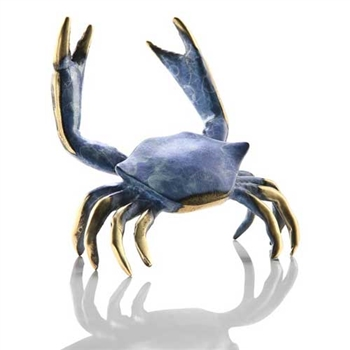 Blue Crab Sculpture - Solid Brass