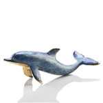 Single Dolphin Sculpture - Solid Brass
