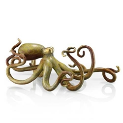 Tan Octopus Statue - Solid Brass