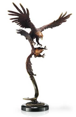 Double Flying Eagles Sculpture - Brass on Marble