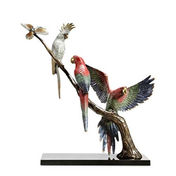 Tropical Songfest Statue (Macaws, Cockatoo, and Humming Bird) - Brass on Marble