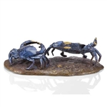 Sly Scuttlers Crab Pair Sculpture - Solid Brass