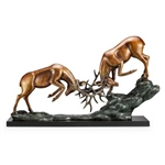 Clash of Antlers Elk Sculpture