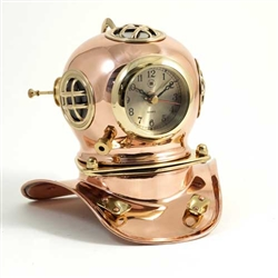 Copper & Brass Diver's Helmet with Quartz Clock