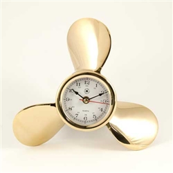 Lacquered Brass Ship's Propeller Quartz Clock