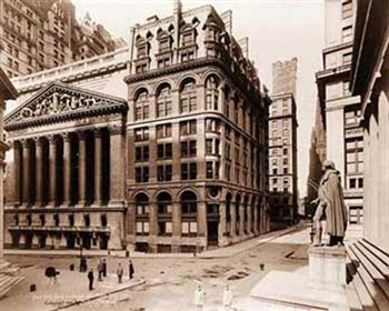New York Stock Exchange and Wilkes Building 1921 Print