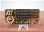 1968 John Kemper & Co NYSE Replica Gold Bar - Lead