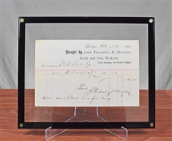 1881 Pickering & Moseley Trade Receipt - Boston