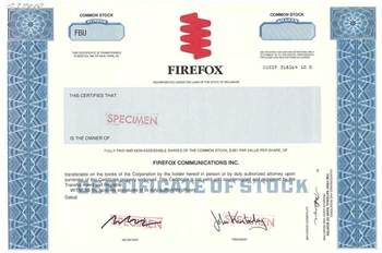 Firefox Communications Inc. Specimen Stock Certificate