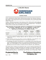 Simmons Airlines Common Stock offering prospectus