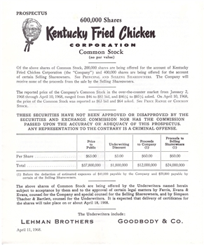 1968 Kentucky Fried Chicken Corp. Stock offering Prospectus
