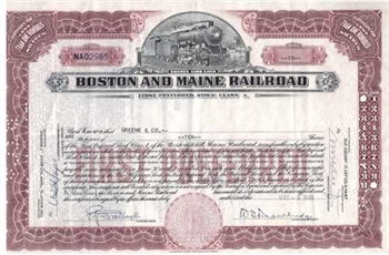 Boston and Maine Railroad Stock Certificate - Red